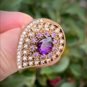 AMETHYST GEMS RING Size 8.5 Solid 925 Silver/Gold